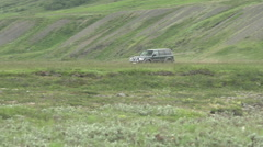 A nissan patrol driving through the icelandic landscape Stock Footage
