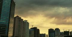 4k Altocumulus clouds over CBD high-rise&skyscraper dusk sunset&dawn sunrise. Arkistovideo