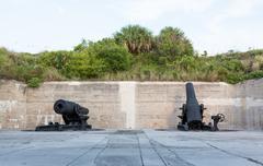 old artillery guns at fort de soto florida - stock photo