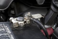 automobile battery terminal - stock photo
