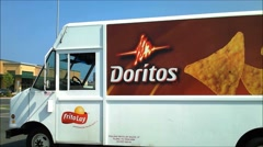 Doritos delivery truck sign Stock Footage