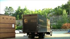 UPS truck starts deliveries Stock Footage