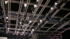 Ceiling of exhibition conference hall Stock Footage