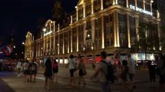 Beautiful building De Bijenkorf at Dam square in Amsterdam Stock Footage