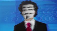 Vendetta mask man 4k anonymous activist Stock Footage