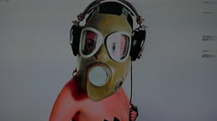 Gas mask distort sexy naked disco dancer military 4k Stock Footage