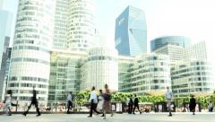Commuters going to workplace. business city district. people walking Stock Footage