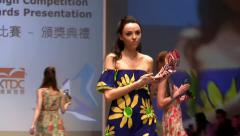 Super models Haute Couture catwalk footwear high fashion runway Fashion Week Stock Footage