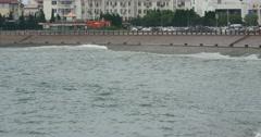 4k video,Ocean waves crashing to gulf . Stock Footage