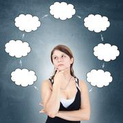 Thoughtful woman Stock Illustration
