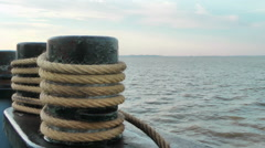 Bollard with ropes on a ferry ship Stock Footage