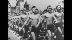 WW2 Russia Civillian Parade Stock Footage