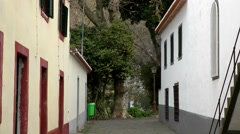 Portugal Madeira 049 camera zoom out of an inner courtyard of Monte village Stock Footage