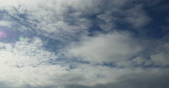 4k Panoramic of white altocumulus clouds smoke flying in cloudy sky timelapse. Stock Footage