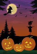 Halloween landscape with pumpkins Stock Illustration