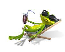 Frog in a deckchair Stock Illustration