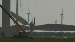 Wind turbine assembly 7 Stock Footage