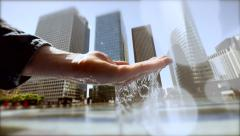 clean and fresh water. slow motion. source water. city skyline background - stock footage