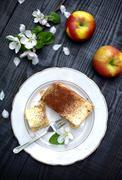 Apple pie with custard Stock Photos