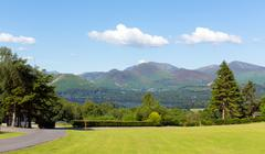 View from Castlerigg Hall Keswick Lake District Cumbria to Catbells mountains Stock Photos