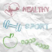 Healthy, sport, food on a creased paper Stock Illustration