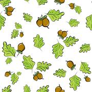 Seamless background with oak leaves and acorns Stock Illustration