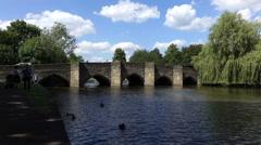 Medieval Stone Bridge - Bakewell, Uk Stock Footage