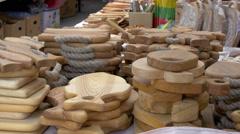 Pretty handicraft products of trakai Stock Footage