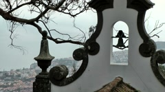 Portugal Madeira 065 bell tower of small chapel in Monte village Stock Footage