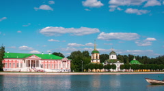 Sheremetyev' palace to Kuskovo and a pond with boats , timelapse Stock Footage