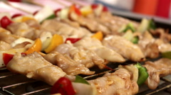 Chicken barbecue grill, (2 clips) Stock Footage