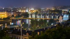City and bridges of prague wide time lapse pan 11450 Stock Footage