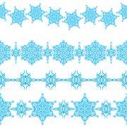 Vector set of seamless christmas ornaments borders Stock Illustration