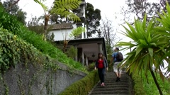 Portugal Madeira 063 stairs up to small chapel of Monte village Stock Footage