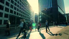 Business people commuters. people waling. sunbeam. modern office buildings Stock Footage