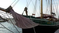 A big galleon, sea boat in dock, port of Estonia Stock Footage