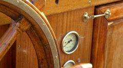 Details of the old-style steering wheel of the galleon ship Stock Footage