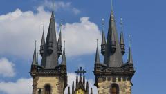 Prague tyn church close time lapse tilt 11452 Stock Footage