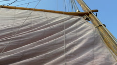Raising of the big viking flag ready to sail Stock Footage