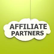 affiliate partners word in green background - stock illustration