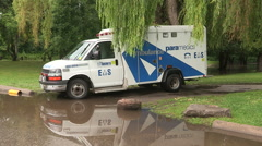 Major flooding after thunderstorm hits Toronto in August 2014 Stock Footage