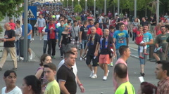 Thousands people on football soccer match, fans at stadium arena, love for team Stock Footage
