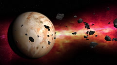 Asteroid field orbiting planet Stock Footage