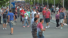 Supporters at football arena, celebrate favorite national soccer team, victory Stock Footage