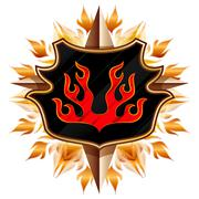 coat of arms with flame - stock illustration
