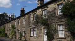 Old English Stone Cottages Stock Footage