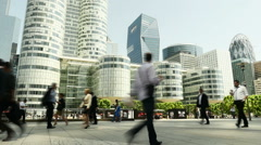 People waling. business people commuters. pedestrians. urban city buildings Stock Footage