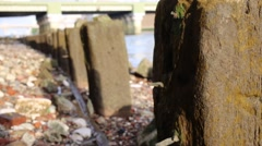 London Riverbanks Ruins Stock Footage