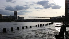 London Riverbanks Ruins With Millennium bridge Stock Footage