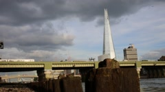 London Riverbanks Ruins with The Shard Stock Footage